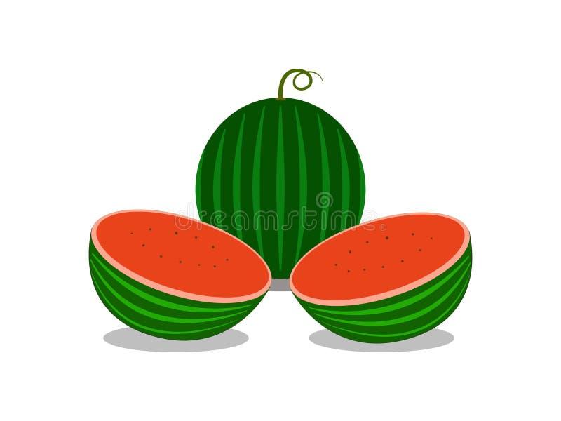 Les belles pastèques de chair sur le fond blanc illustration de vecteur