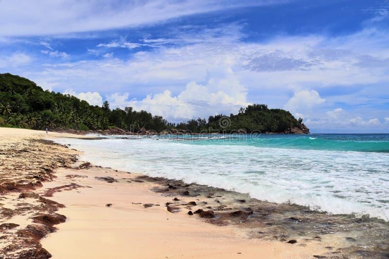 Les belles plages blanches sur les ?les Seychelles de paradis fotographed un jour ensoleill? images libres de droits