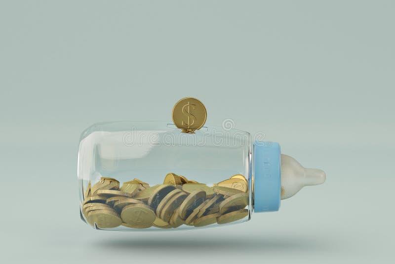 Les biberons encaissent et la pièce d'or sur le fond bleu illustrat 3d illustration stock