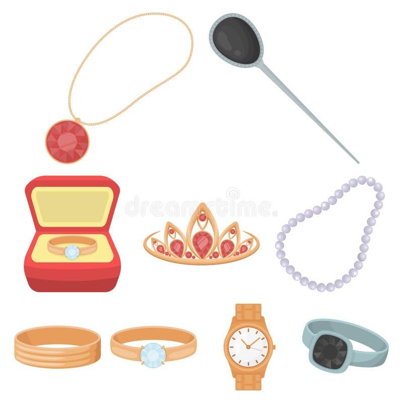 Les bijoux et les accessoires ont placé des icônes dans le style de bande dessinée La grande collection de bijoux et les accessoi illustration de vecteur