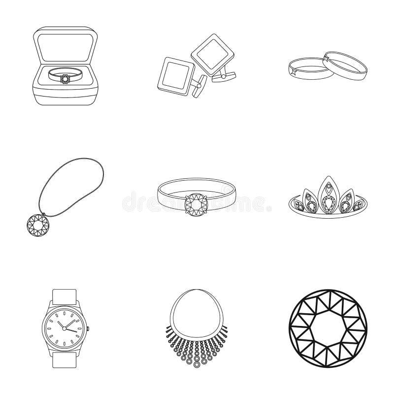 Les bijoux et les accessoires ont placé des icônes dans le style d'ensemble Grande collection de bijoux et d'accessoires illustration de vecteur