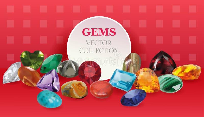 Les bijoux réalistes de gemmes de vecteur lapident la grande composition en collection sur le fond rouge illustration libre de droits