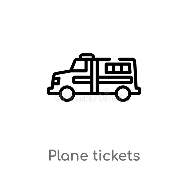 les billets d'avion d'ensemble dirigent l'ic?ne ligne simple noire d'isolement illustration d'?l?ment de concept de transport Cou illustration de vecteur