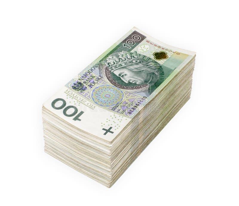Les billets de banque polonais empaquettent d'isolement photo stock