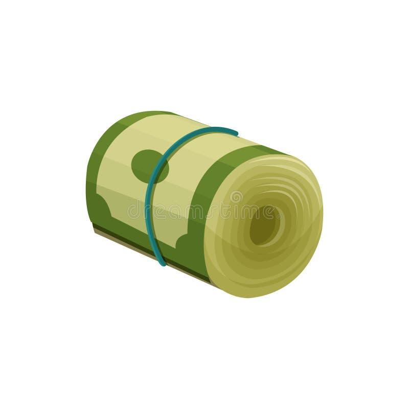 Les billets de banque verts du dollar se sont enroulés et attaché avec une bande élastique bleue Devise américaine Monnaie fiduci illustration de vecteur