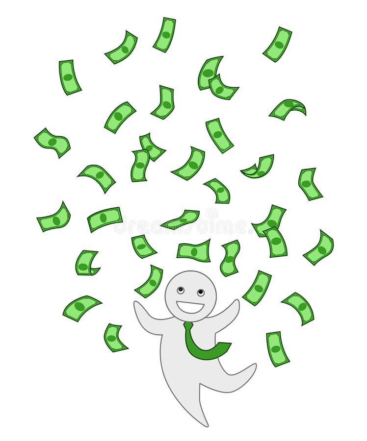 Les billets de banque verts pleuvoir, gros lot, argent pilotant le clipart d'isolement Homme de bureau illustration de vecteur