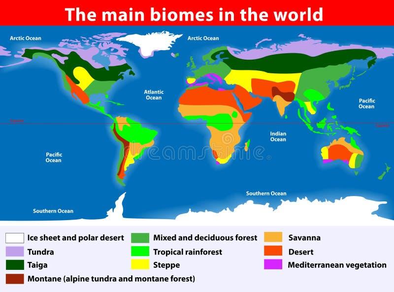 Les biomes principaux dans le monde