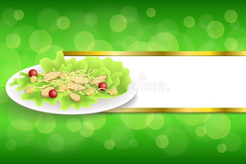 Les biscuits abstraits de tomate de salade de César de poulet de nourriture de fond verdissent l'illustration orange rouge de cad illustration libre de droits