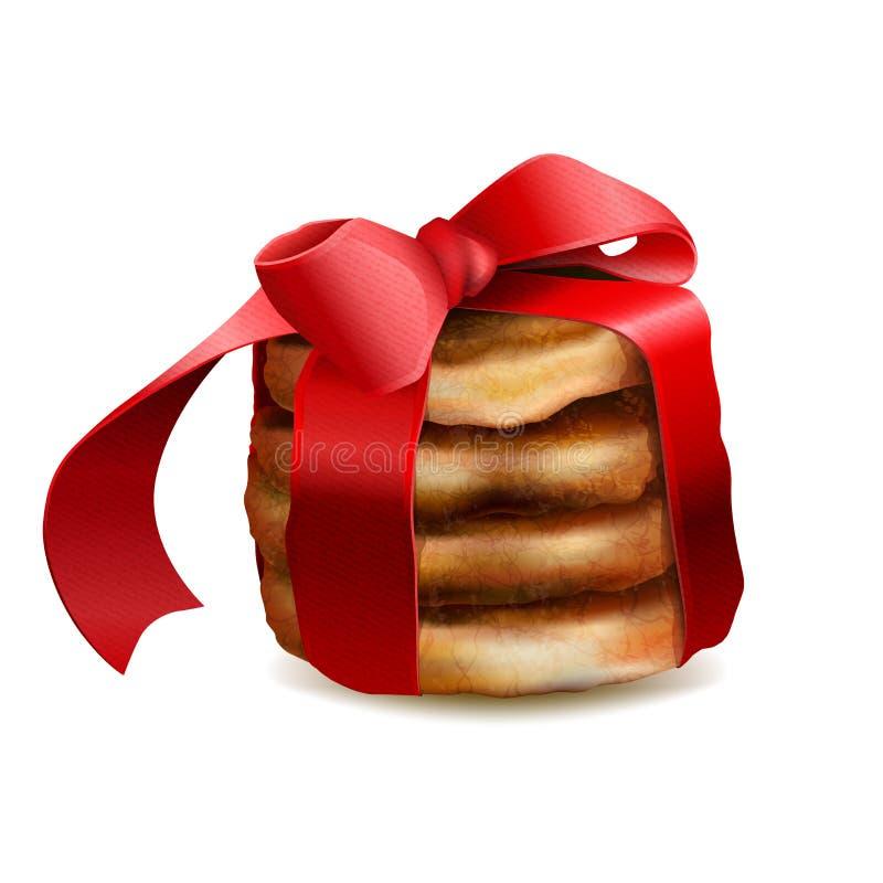 Les biscuits de Noël ont noué le ruban rouge illustration libre de droits