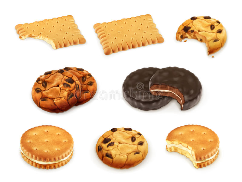 Les biscuits dirigent l'ensemble illustration de vecteur