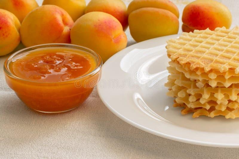 Les biscuits faits maison avec l'abricot bloquent d'un plat image stock