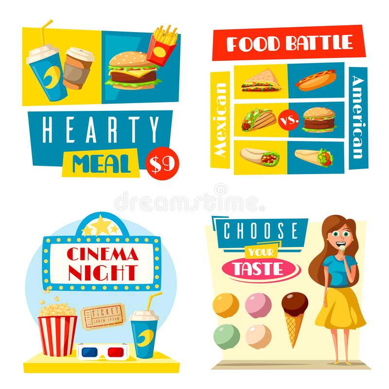 Les Bistros de barre de cinéma d'aliments de préparation rapide dirigent les affiches plates illustration de vecteur
