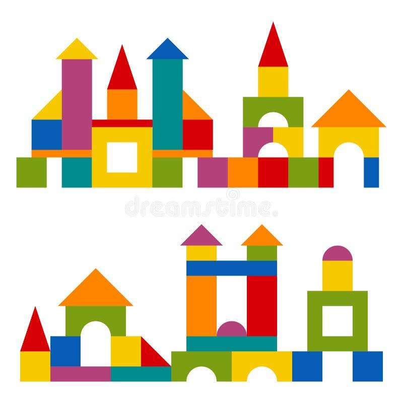 Les blocs colorés jouent la tour de bâtiment, château, maison illustration de vecteur