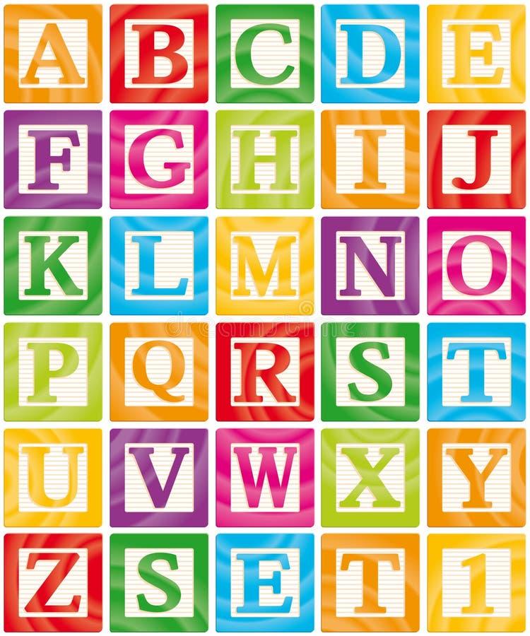 Les blocs de chéri ont placé 1 de 3 - alphabet de majuscules illustration libre de droits