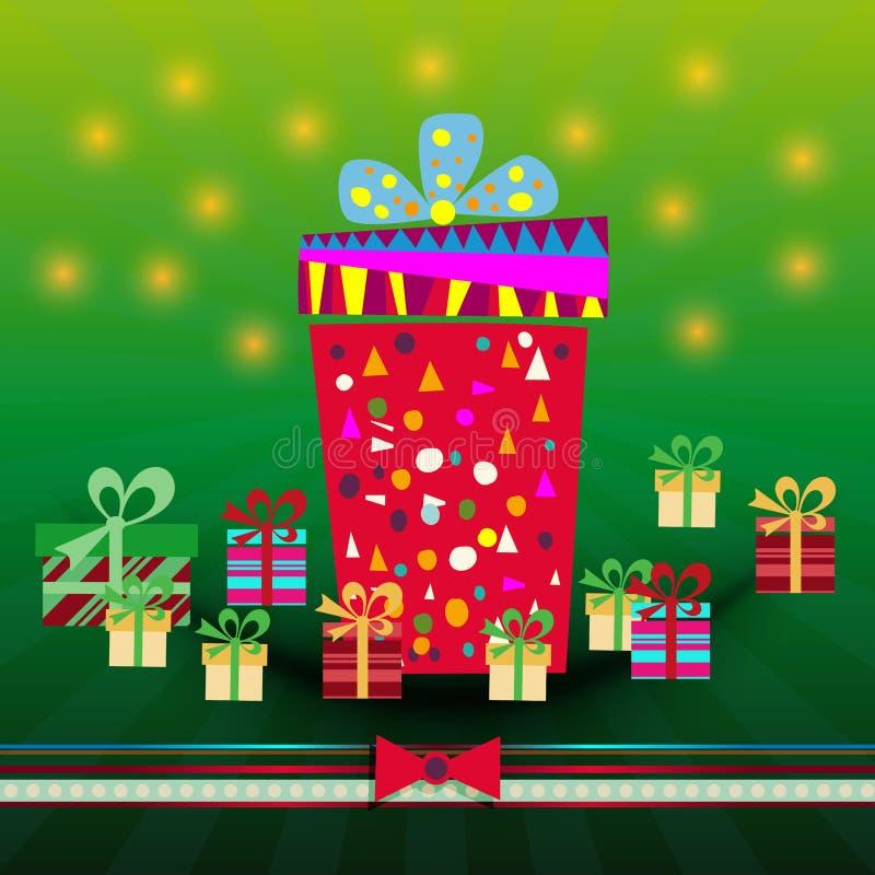 Les boîte-cadeau dirigent l'ensemble illustration stock