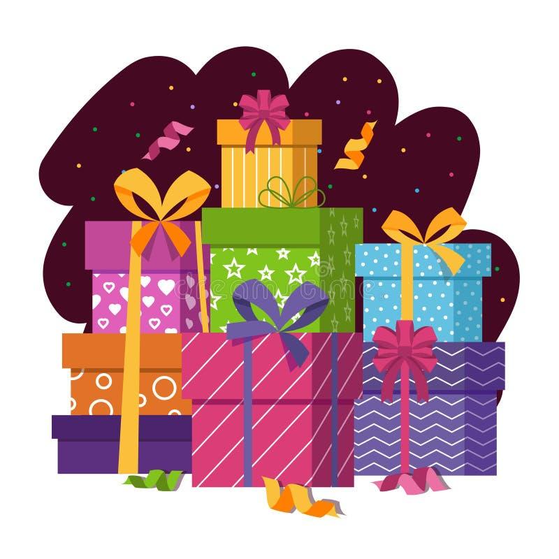 Les boîte-cadeau empilent dans l'illustration plate de vecteur de style illustration libre de droits