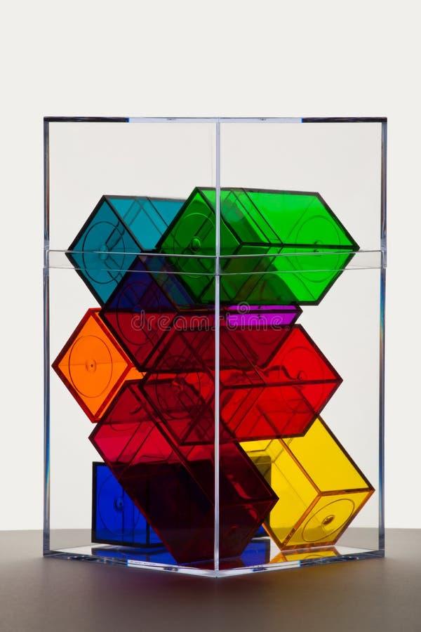 Les boîtes claires colorées soutiennent allumé photographie stock
