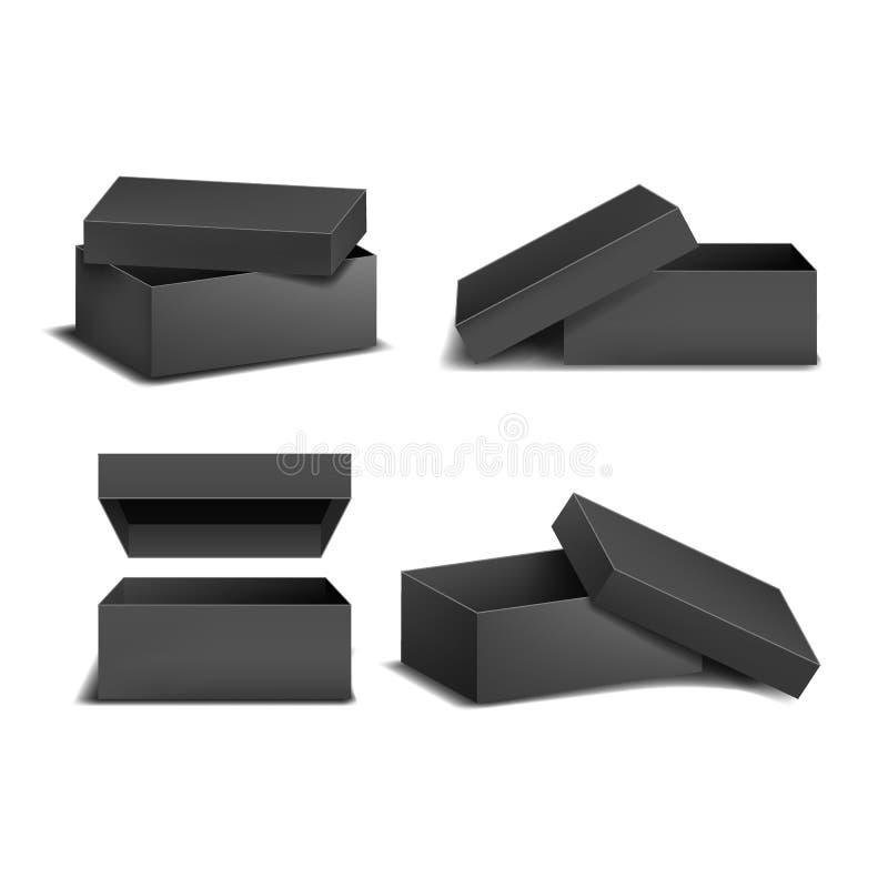Les boîtes de place noire détaillées réalistes de blanc du calibre 3d raillent  Vecteur illustration stock