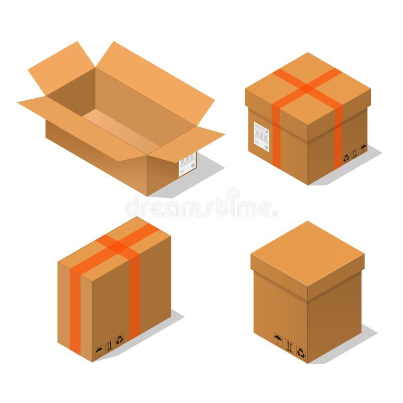 Les boîtes en carton ont placé la vue isométrique Vecteur illustration de vecteur