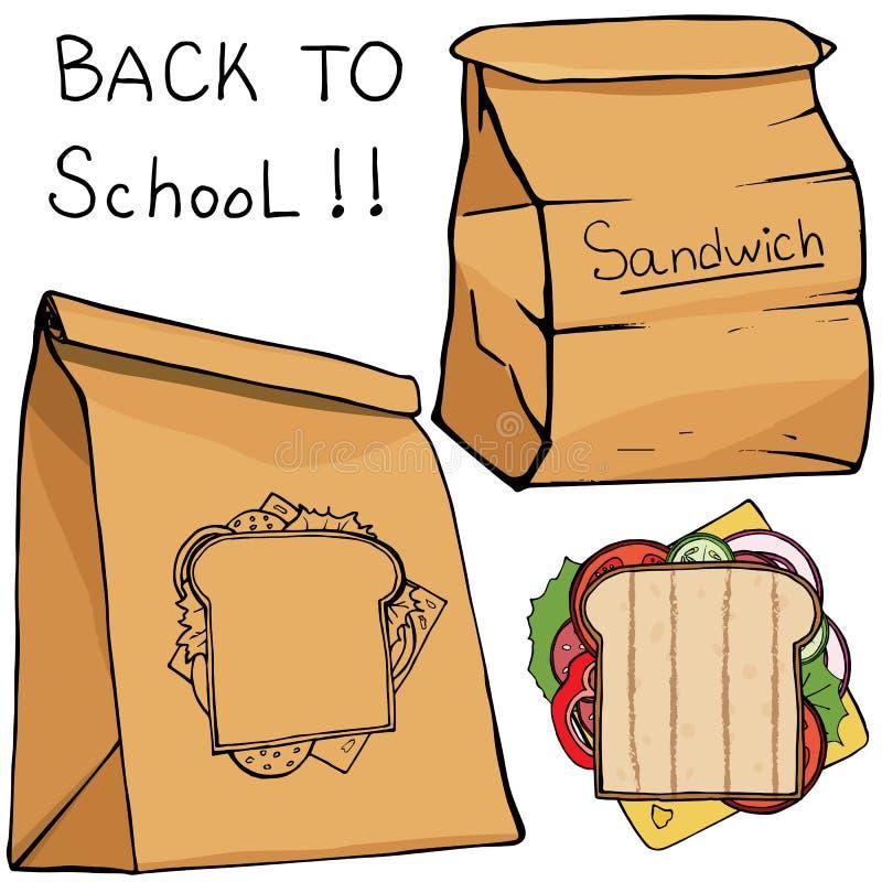Les boîtes et le sandwich à nourriture de repas scolaire, dirigent les icônes plates illustration libre de droits