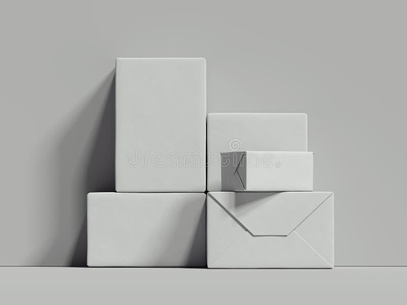 Les boîtes rectangulaires blanches se tiennent à côté du mur gris, le rendu 3d illustration de vecteur