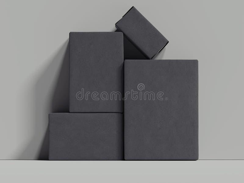 Les boîtes rectangulaires noires se tiennent à côté du mur gris, le rendu 3d illustration stock