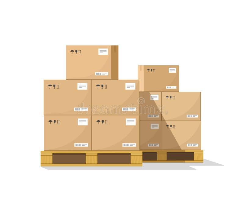 Les boîtes sur le vecteur boisé de palette, les boîtes plates de colis de carton d'entrepôt empilent la vue de face illustration libre de droits