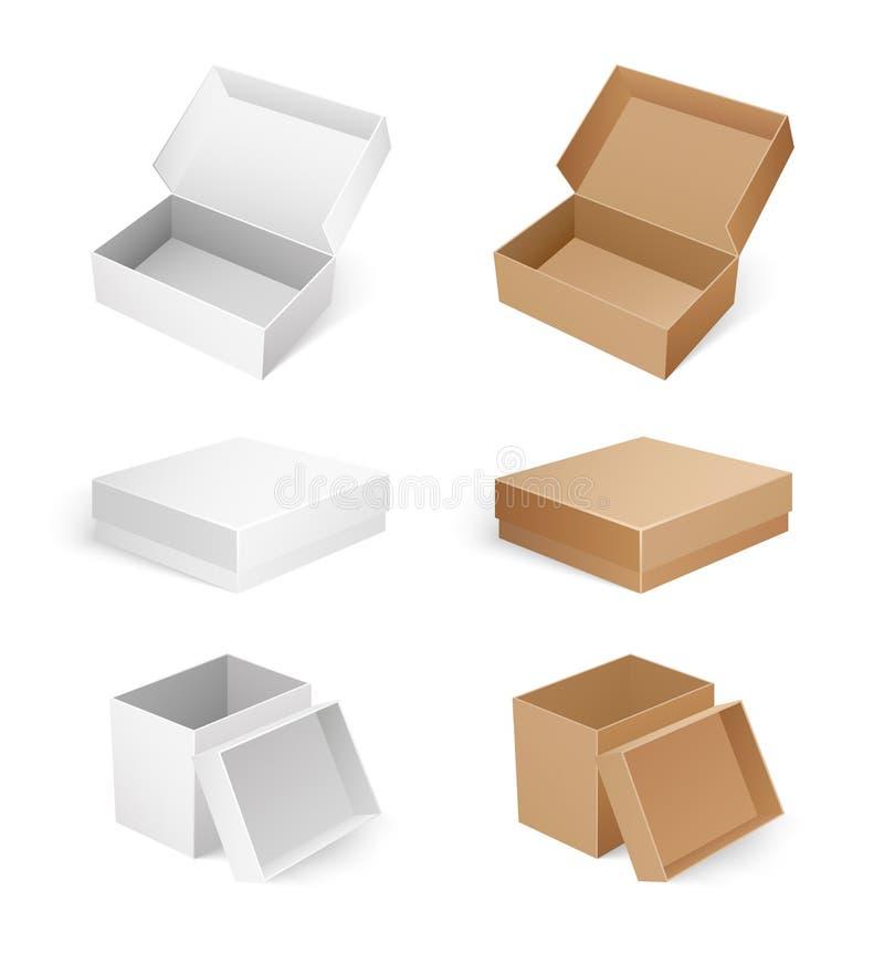 Les boîtes vides cosmétiques, médicales ou de produit ont isolé illustration de vecteur