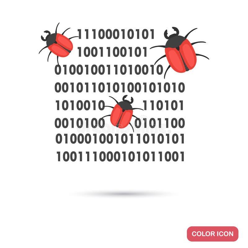 Les bogues informatiques détruisent l'icône plate de couleur de code binaire illustration libre de droits
