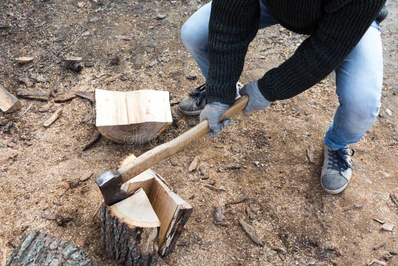 Les bois et la hache photos stock