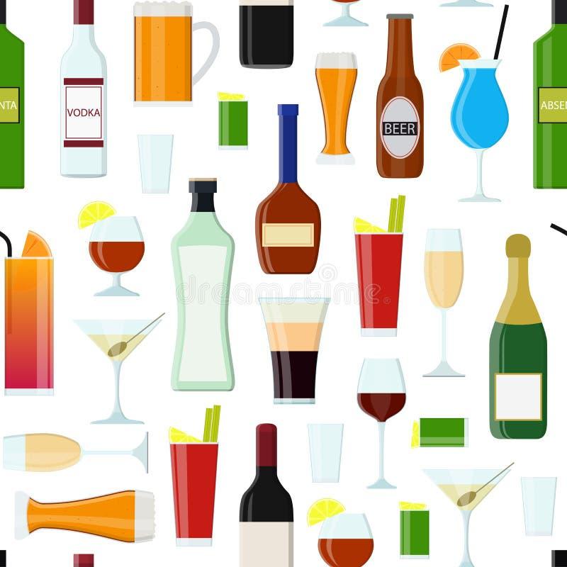 Les boissons alcoolisées de bande dessinée boivent le fond sans couture de modèle Vecteur illustration stock