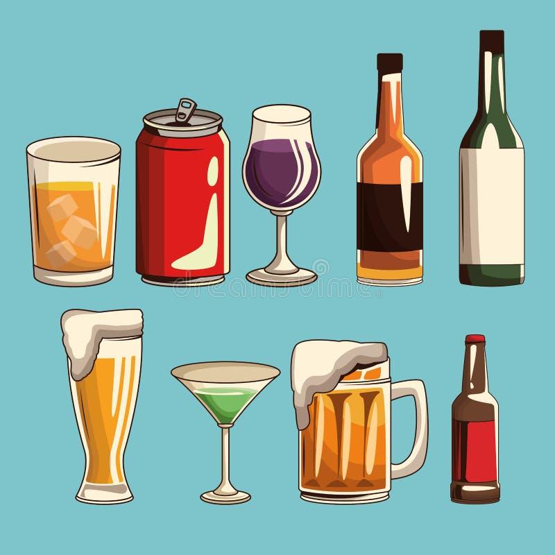 Les boissons alcoolisées ont isolé illustration stock