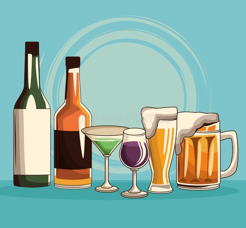 Les boissons alcoolisées ont isolé illustration de vecteur