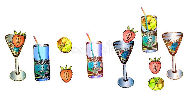 Les boissons de soirée sont différentes pour une assistance dans la barre photo libre de droits