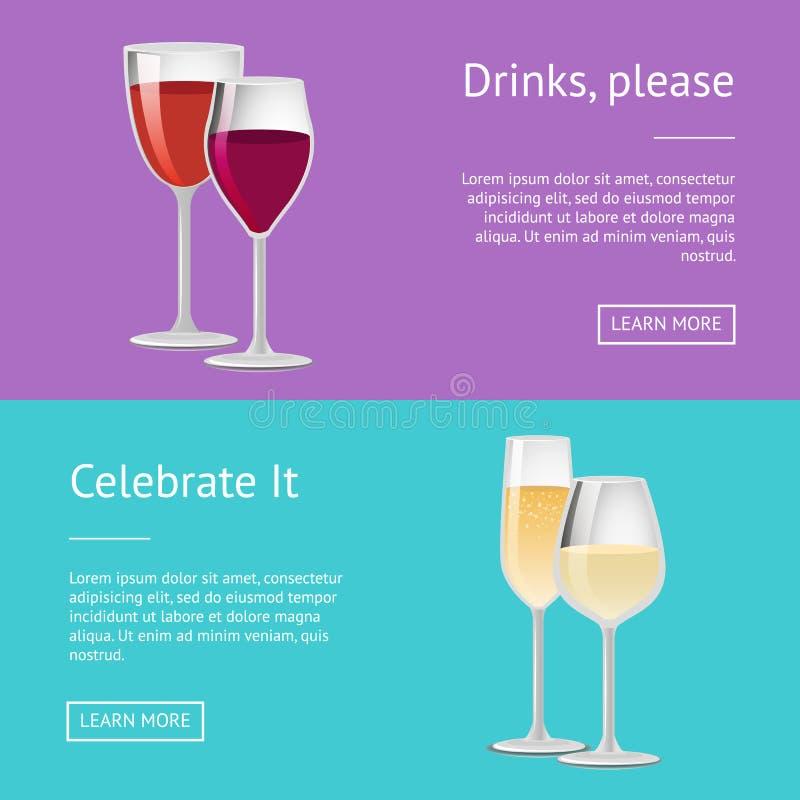 Les Boissons Satisfont L'affiche Avec Le Verre De Vin