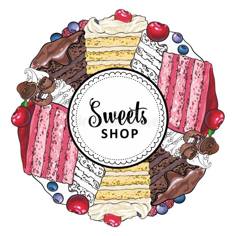 Les bonbons à vecteur font des emplettes logo avec des biscuits de petit gâteau illustration libre de droits