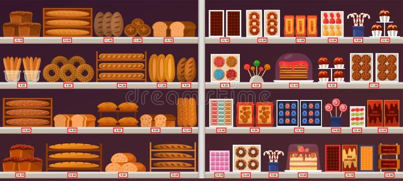Les bonbons et la boulangerie calent ou présentent à la boutique illustration de vecteur
