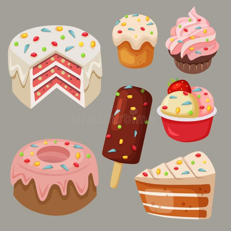 Les bonbons et le gâteau délicieux à vecteur d'actions avec l'arc-en-ciel arrose illustration stock