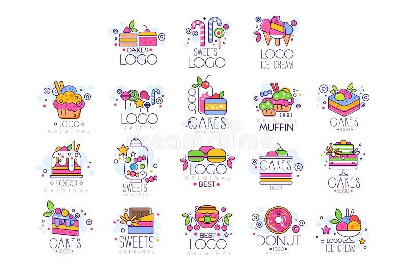 Les bonbons, gâteaux, logos de crème glacée placent, confiserie et les produits de boulangerie dirigent des illustrations illustration libre de droits