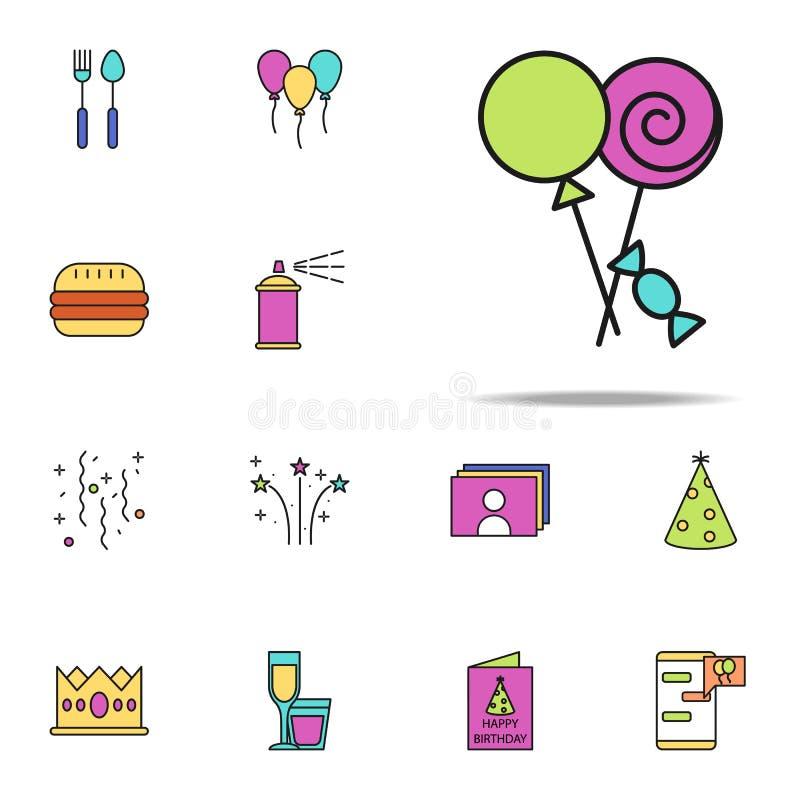 les bonbons ont coloré l'icône Ensemble universel d'icônes d'anniversaire pour le Web et le mobile illustration libre de droits