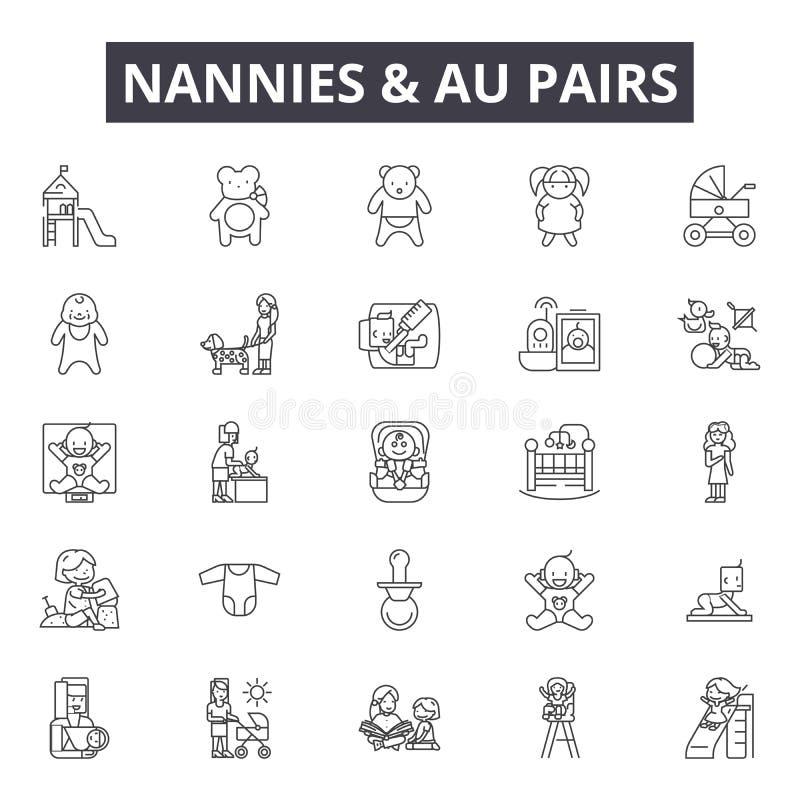 Les bonnes d'enfants et les paires d'Au rayent des icônes, signes, ensemble de vecteur, concept d'illustration d'ensemble illustration libre de droits