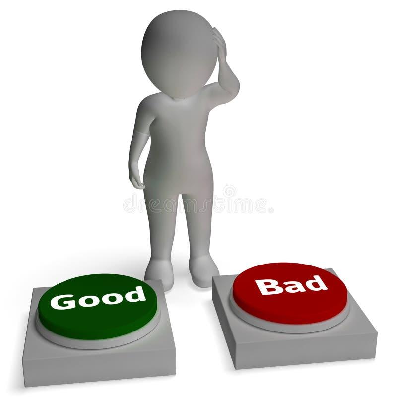 Les bonnes mauvaises expositions de boutons approuvent ou rejettent illustration stock