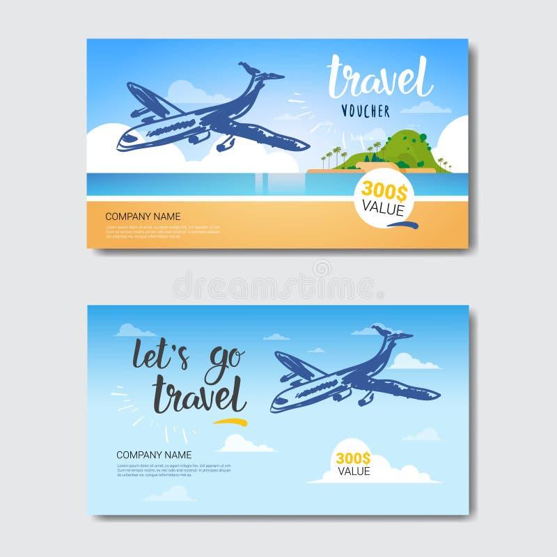 Les bons de calibre d'agence de voyages réglés, collection d'affiches de Tourist Company ont isolé illustration stock
