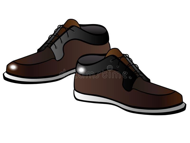 Les bottes brunes des hommes avec une semelle blanche Chaussures mâles Chaussures mâles Mocassins pour les hommes illustration libre de droits