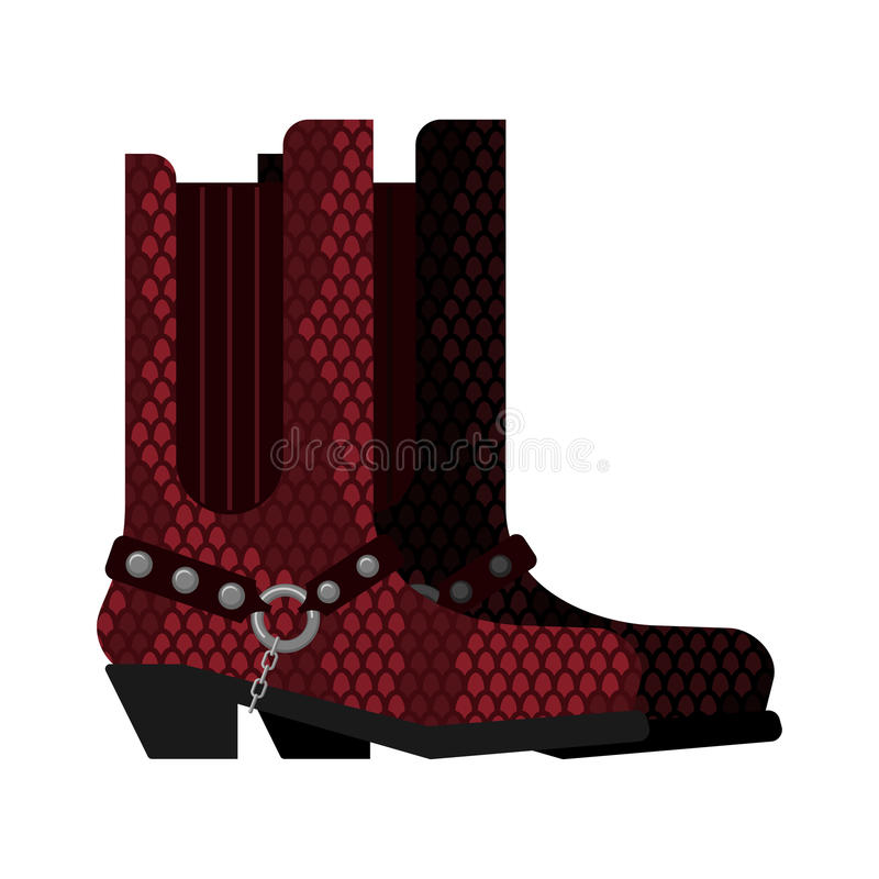 Les bottes de cowboy ont fait le cuir de python Les chaussures d'Australie ont fait le crocodile illustration libre de droits