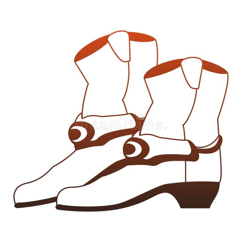 Les bottes de cowboy ont isol? les lignes rouges illustration libre de droits