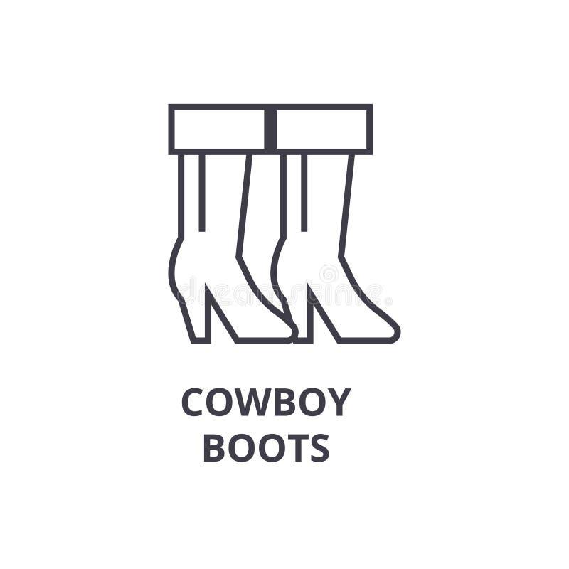 Les bottes de cowboy rayent l'icône, signe d'ensemble, symbole linéaire, vecteur, illustration plate illustration libre de droits