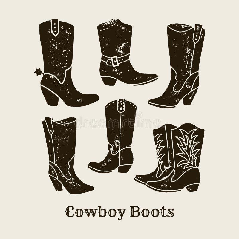 Les bottes de cowboy silhouettent la collection dans le rétro style illustration libre de droits