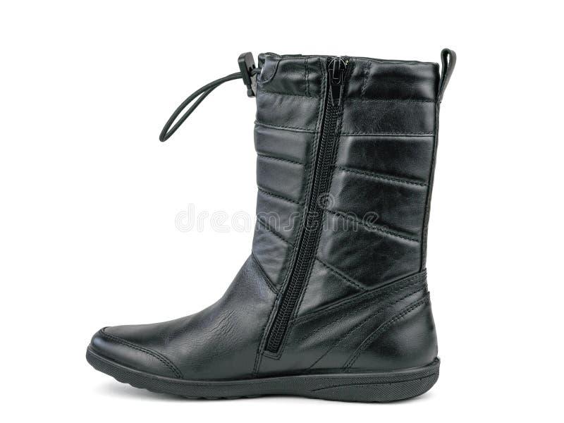 Les bottes des hautes femmes droites ont fait du cuir véritable d'isolement sur un fond blanc images stock