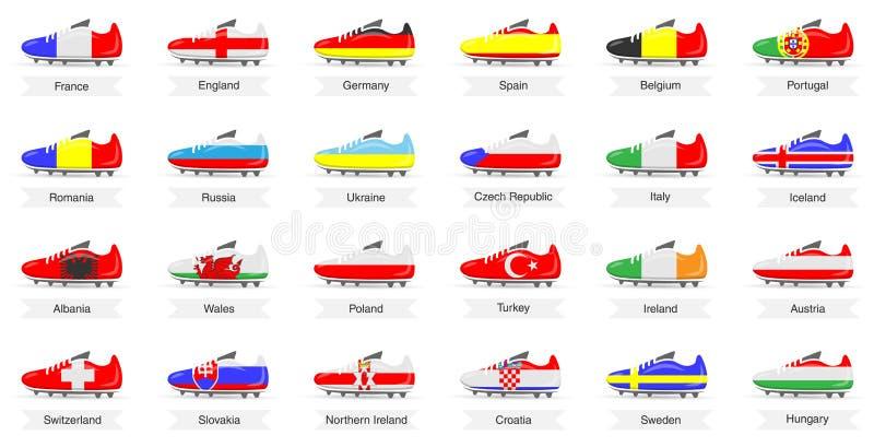 Les bottes du football du football dans des drapeaux de pays de l'Europe conçoivent le vecteur d'isolement illustration stock